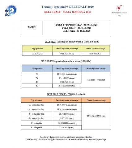 Terminarz egzaminów w sesji jesiennej